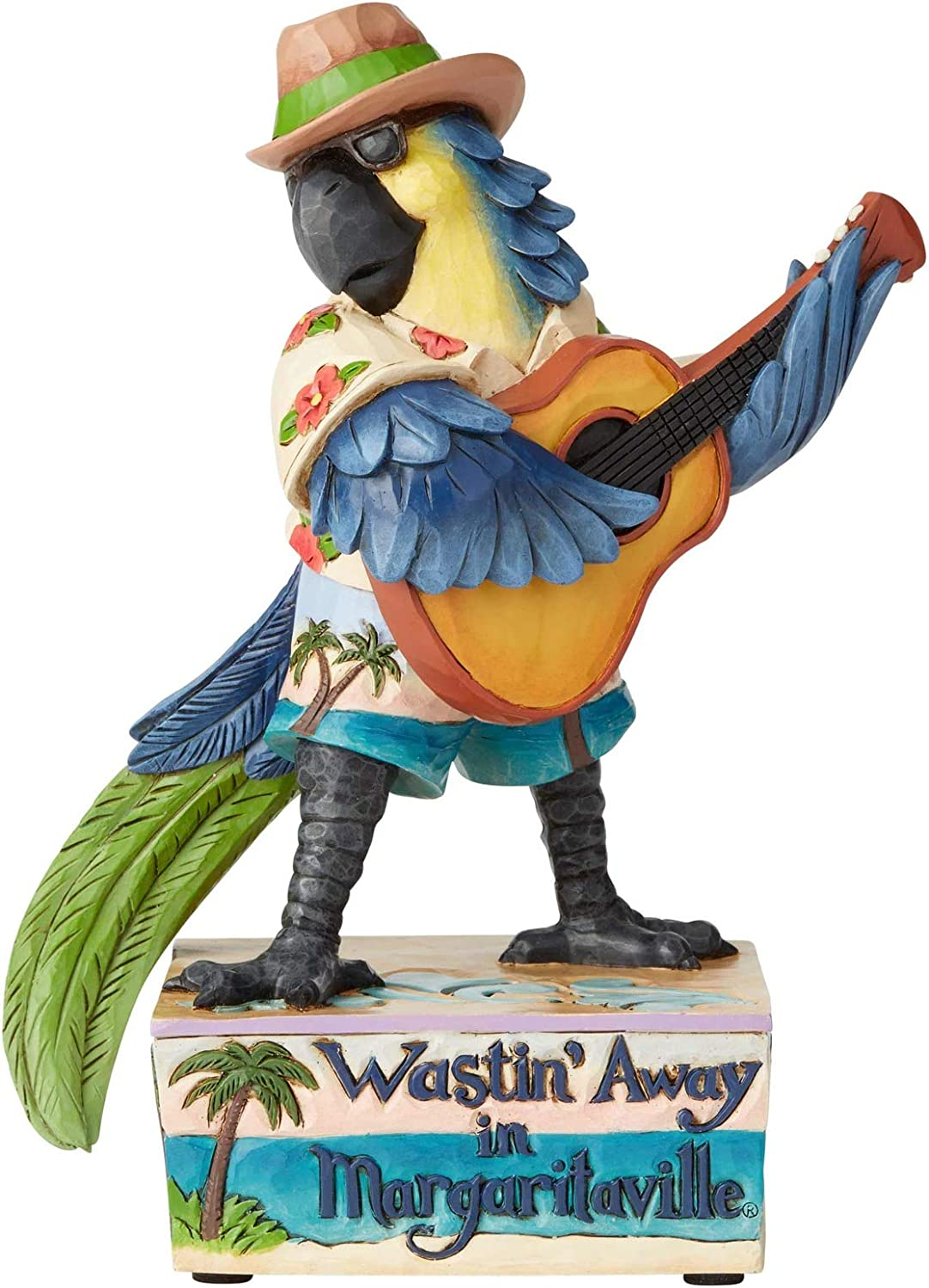 Enesco Margaritaville by Jim Shore Parrot with Guitar Musical Figurine, 8.1