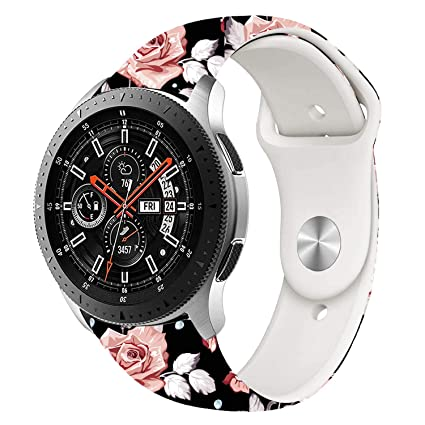 VODKE Compatible Samsung Galaxy Watch 46mm Bands & Gear S3 Frontier Bands,22mm Soft Flower Printed Strap Replacement Bracelet Wristbands for Samsung ...