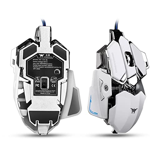Aizbo C80 Gaming Mouse with 4,800 DPI, Programmable 10 Buttons, USB Wired Gaming Mice for Pro Gamer (White)