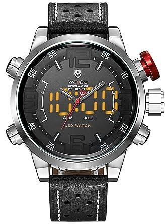 fdce0b7a00f Alienwork Unisex Watch Men Women Watches for Boys Ladies Leather black LED  Analogue-Digital silver Waterproof Multi-function Sport XXL Oversized  ...