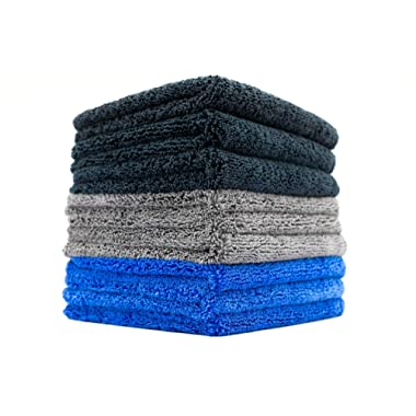 (9-Pack) THE RAG COMPANY 16 in. x 16 in. Professional 70/30 Blend 420 GSM Dual-Pile Plush Microfiber Auto Detailing Towels - Spectrum 420 DARK PACK