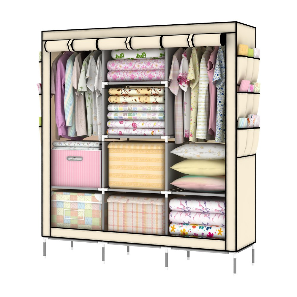 OUMYJIA 69'' Portable Clothes Closet Wardrobe Non-woven Fabric Storage Organizer, Side Pockets, Beige, 51'' L x 17.5'' W x 69'' H inches
