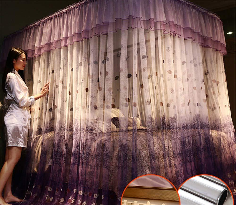 Mosquito net Guide u-Type Floor Stand Mosquito net Three-Door Mosquito net Anti-Mosquito Insect nets encrypted Mosquito net Palace Mosquito net, Purple, 210 180cm by RFVBNM Mosquito net (Image #6)