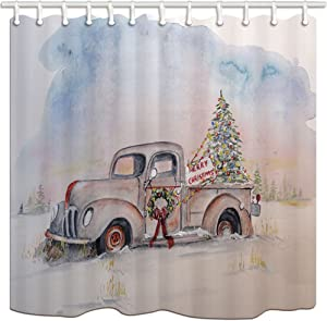 KOTOM New Year Decor Shower Curtain, Christmas Tree Old Truck, Polyester Fabric Bath Curtains Hooks 69W X 70L inches
