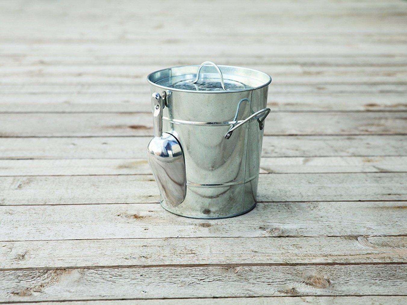 Ice Bucket Large, Insulated Galvanized Metal Ice Scoop Wine Ice Buckets Large