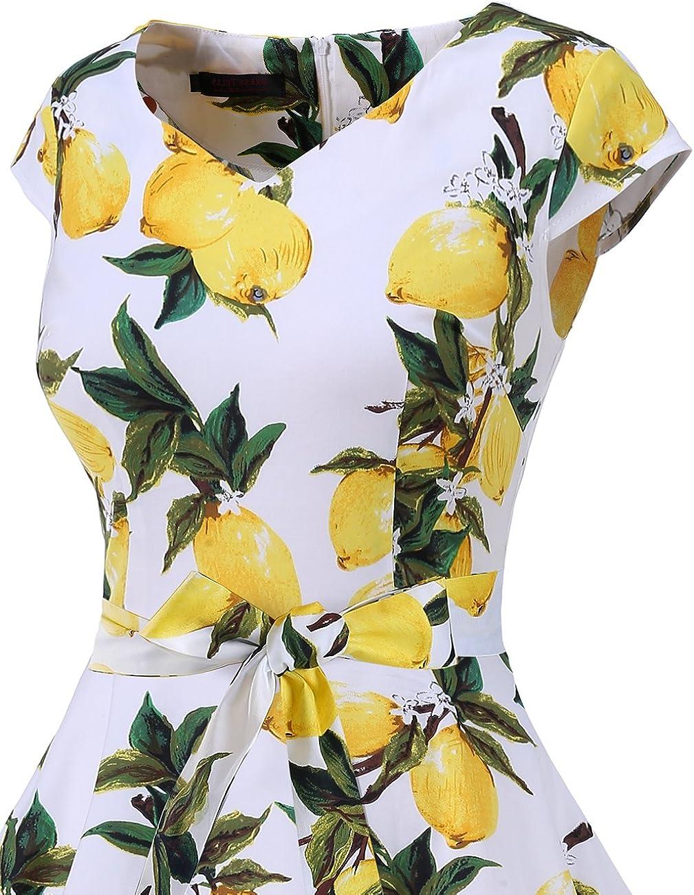 DRESSTELLS Mujer Vestido Corto Mujer Retro A/ños 50 Vintage Vestido de C/óctel