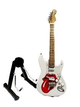 Guitarra eléctrica Rolling Stones de ferrocarril - Madera barnizado - Objeto de decoración - regalo música - incluye soporte: Amazon.es: Hogar