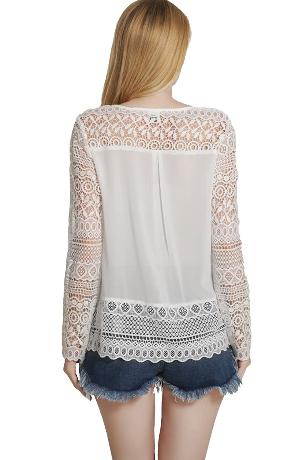 c708cc9f37ec6 Unomatch Women Crochet Lace Top Shirt and Blouse White at Amazon Women's  Clothing store: