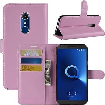 HualuBro Funda Alcatel 3, Premium PU Cuero Leather Billetera Wallet Carcasa Flip Case Cover para Alcatel 3 Smartphone (Rosa): Amazon.es: Electrónica