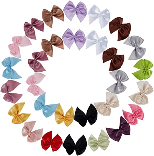 50pcs Assorted Fabric Bowknot Flower Embellishment for DIY Hair Accessories