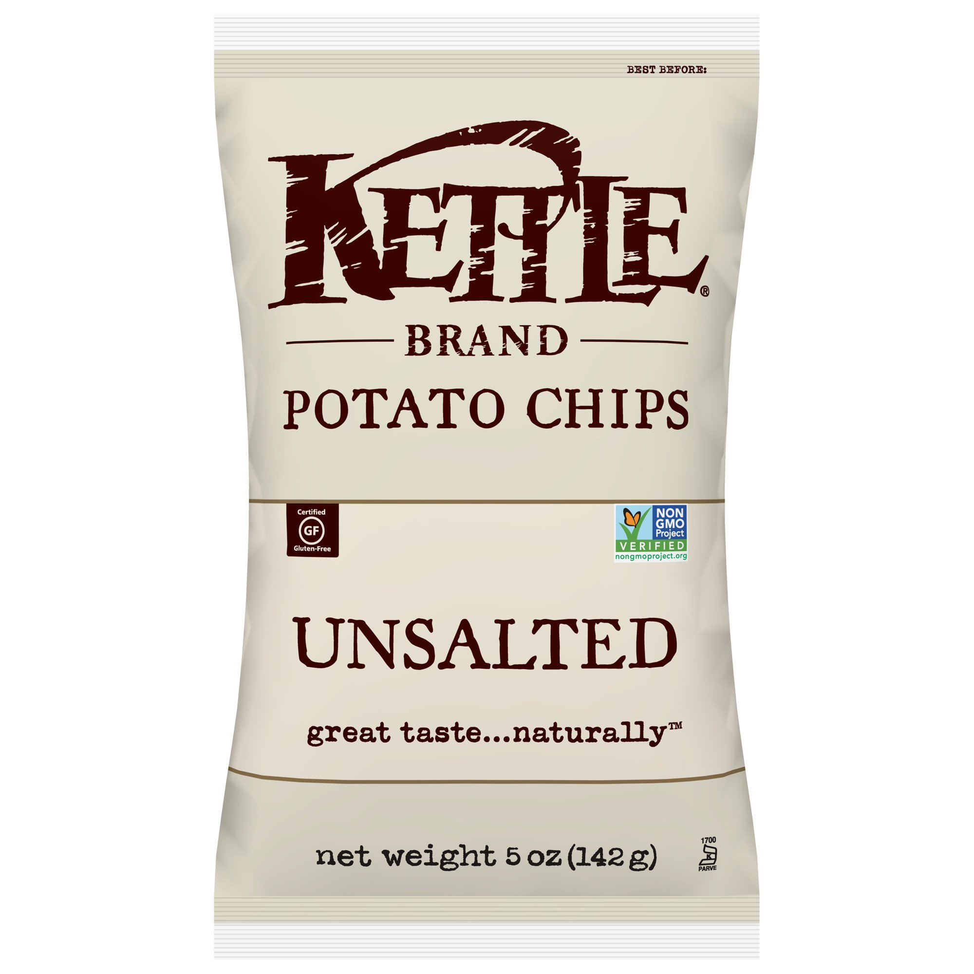 Kettle Brand Potato Chips, Unsalted, 5 Ounce Bags (Pack of 15) by Kettle Brand