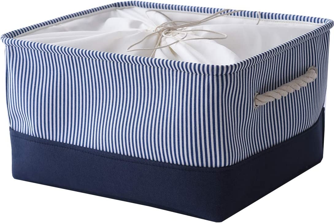 INough Large Storage Basket Collapsible Storage Toys Bins Clothes Crafts Organizer 16 x 12 x 8.3 Inches, Fabric Laundry Baskets with Drawstring Closure and Handle (Large, Navy Blue)