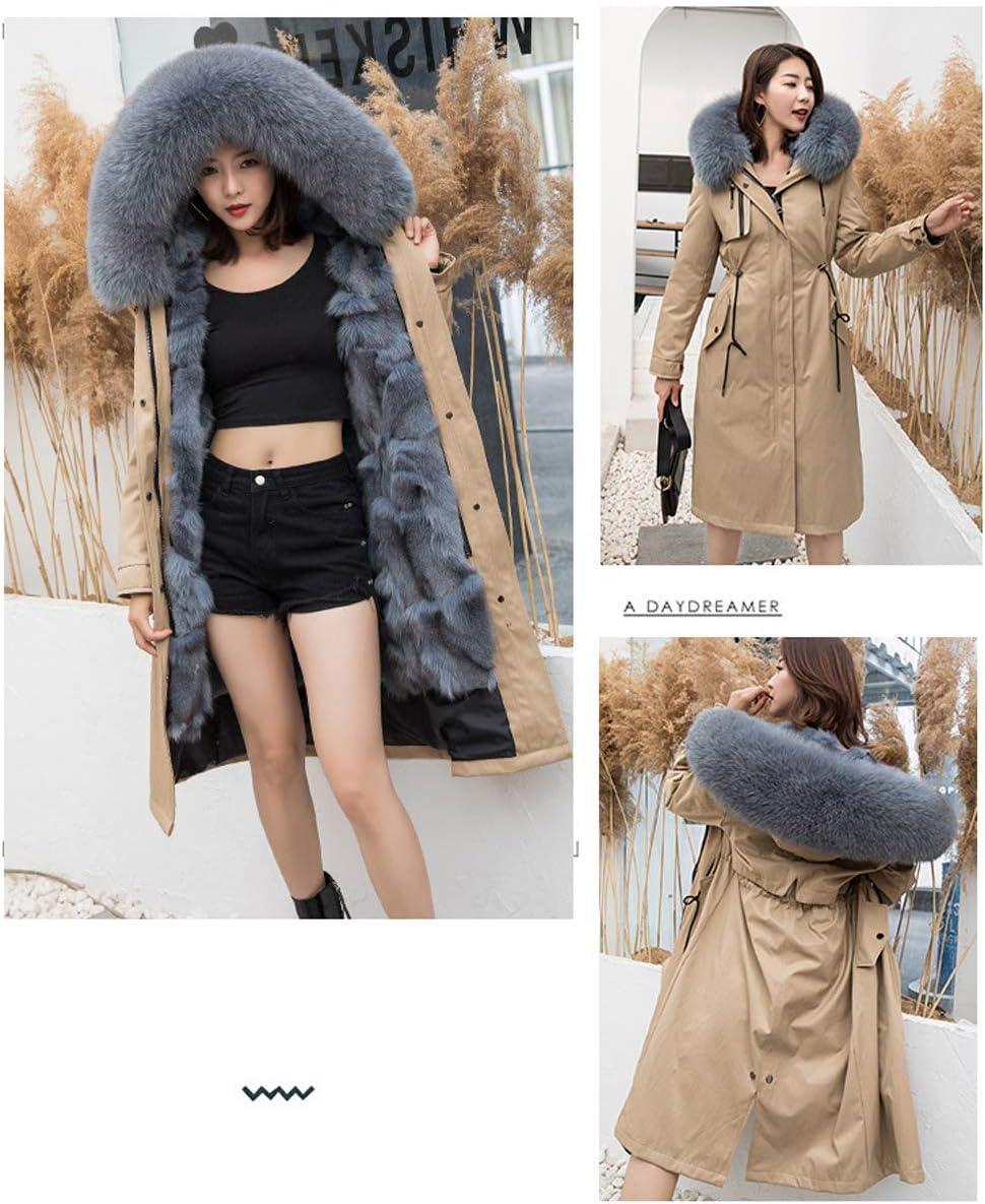QIA Donna Inverno Incappucciato Caldo Cappotti Parka, Impermeabile Antivento Lunghi Addensare Parka Faux Fur Giacche (M-XXL) D