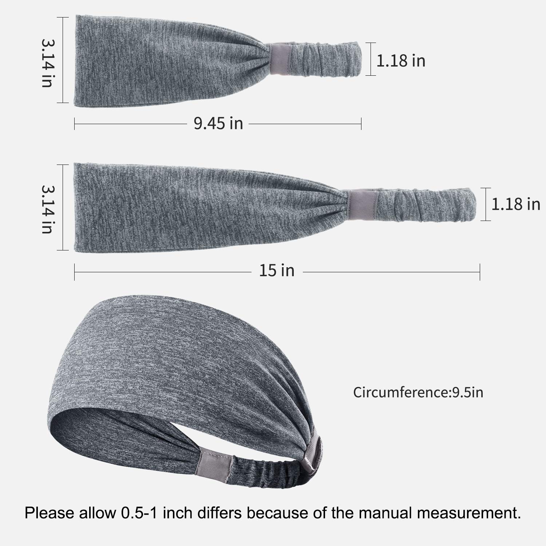 DINIGOFIN Wide Sports Headbands for Women Cooling Fitness Headband Moisture Wicking Sweatbands for Workout