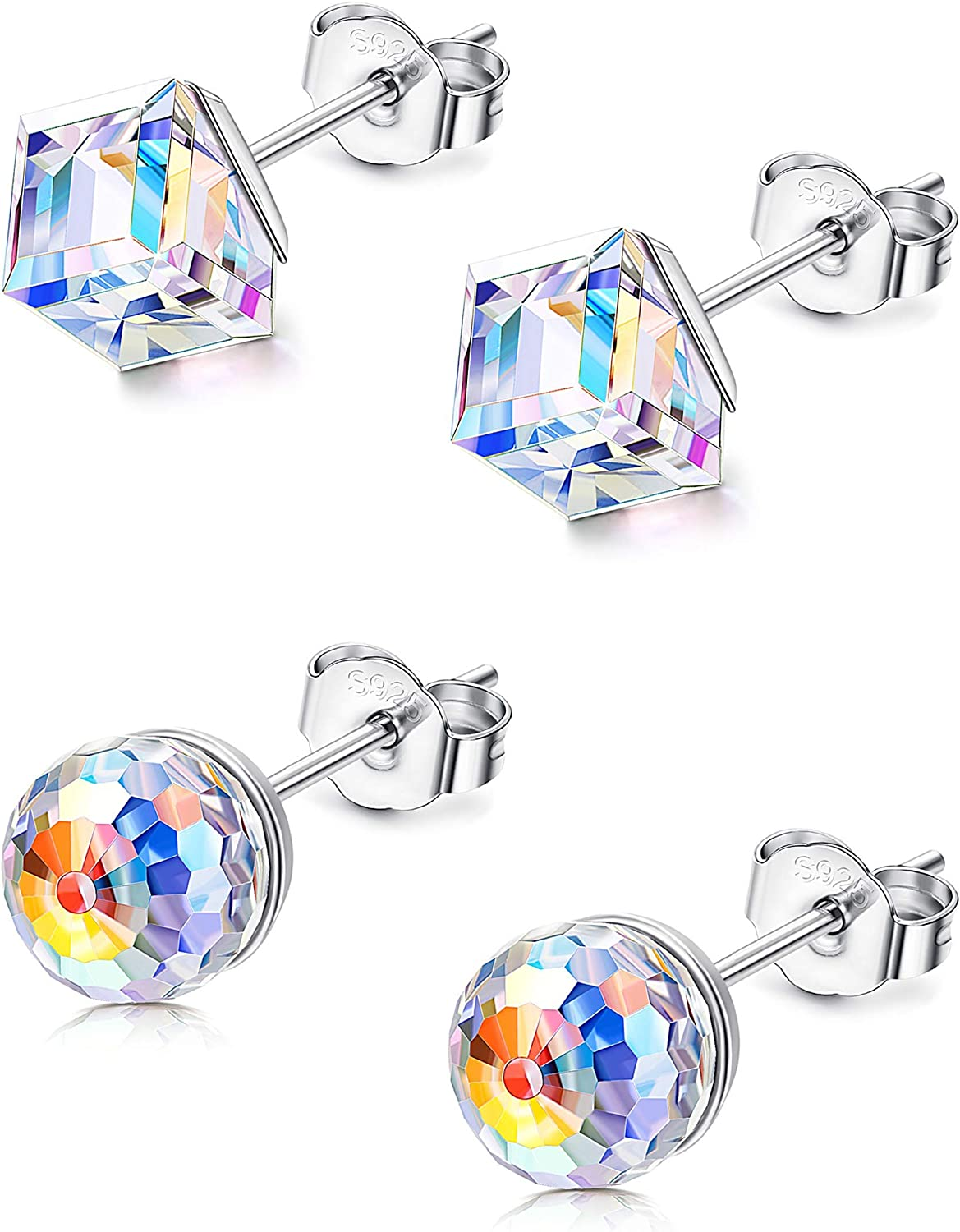 Sllaiss 2Pairs Cube Ball Crystal Earrings Sterling Silver with Aurora Crystals from Swarovski Valentine's Day Gifts for Her Fine Jewelry with Box