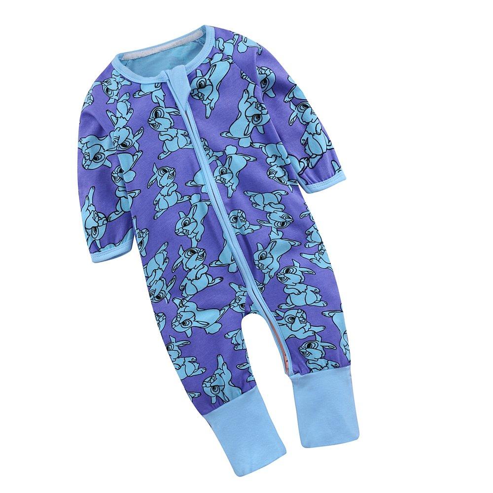 Mary ye Unisex Babys Zipper Blue Sleeper Pajamas Long Sleeved