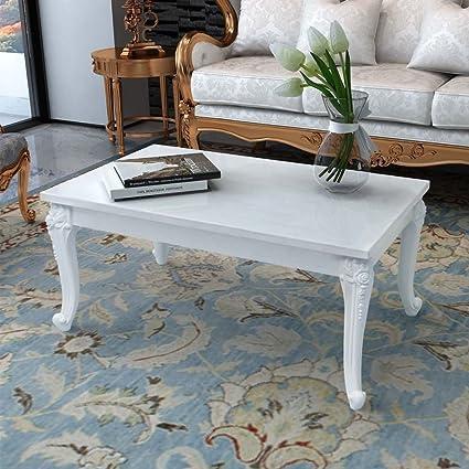 Amazon.com: High Gloss White Coffee Side End Table, Living Room ...