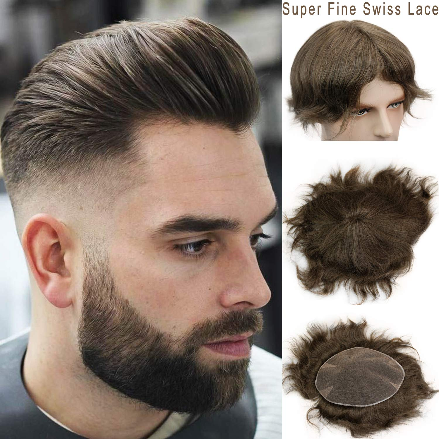 Rossy&Nancy Swiss Full Lace Men's Toupee European Real Human Hair Replacement for Men Hairpiece #7 Brown Color by Rossy&Nancy