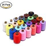 Candora, bobina di filo per cucire, 24 colori, 914,4 metri ciascuno, poliestere, per tutti gli usi, per cucire a mano e a macchina
