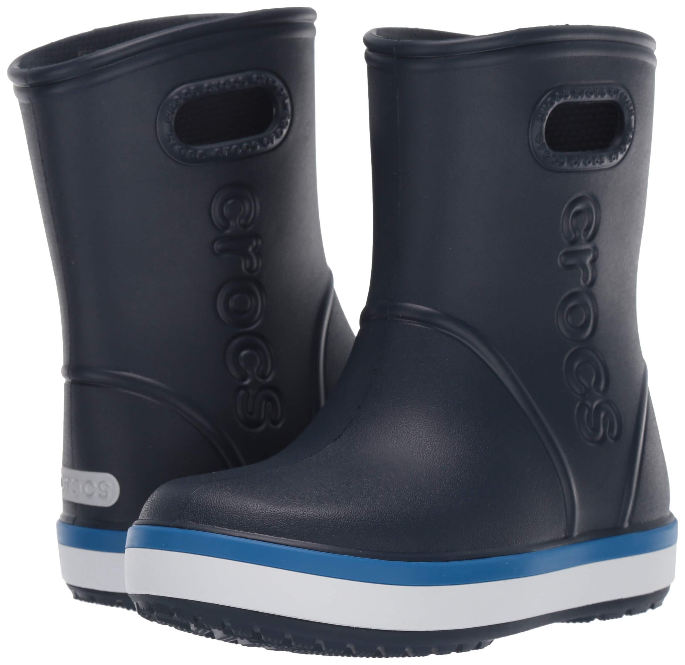 Crocs Unisex Crocband Rain Boot, Navy/Bright Cobalt, 2 M US Little Kid by Crocs (Image #6)