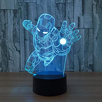 WDXXF LED Ilusion optica 3D Robot de acero Lámpara de ...