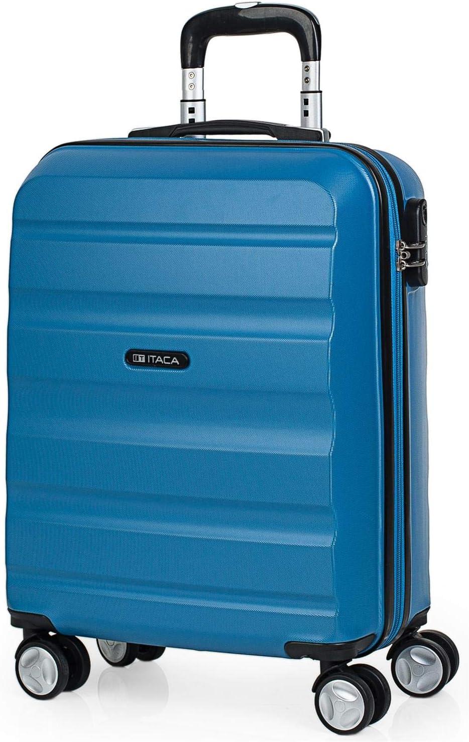 ITACA - Maleta de Viaje 55x40x20 cm Cabina Trolley ABS Lisa. Equipaje de Mano. Pequeña Rígida Práctica y Ligera. 4 Ruedas y Candado. Calidad y Diseño. Viajes Cortos, T71650, Color Azul