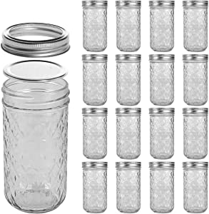 LEQEE Mason Jars 12 oz 16 PACK Mini Canning Jars with Silver Lids and Bands Regular Mouth Jelly Jar for Jam, Honey, Wedding Favors, Shower Favors, Baby Foods, DIY Magnetic Spice Jars