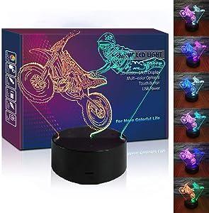 HIPIYA Motorcycle LED 3D Illusion USB Motorbike Night Light Motocross Lamp Festival Present Dirt Bike Birthday Gift for Player Fan Teen Men Boyfriend Boy Kid Bedroom Decoration Room Decor (Moto)