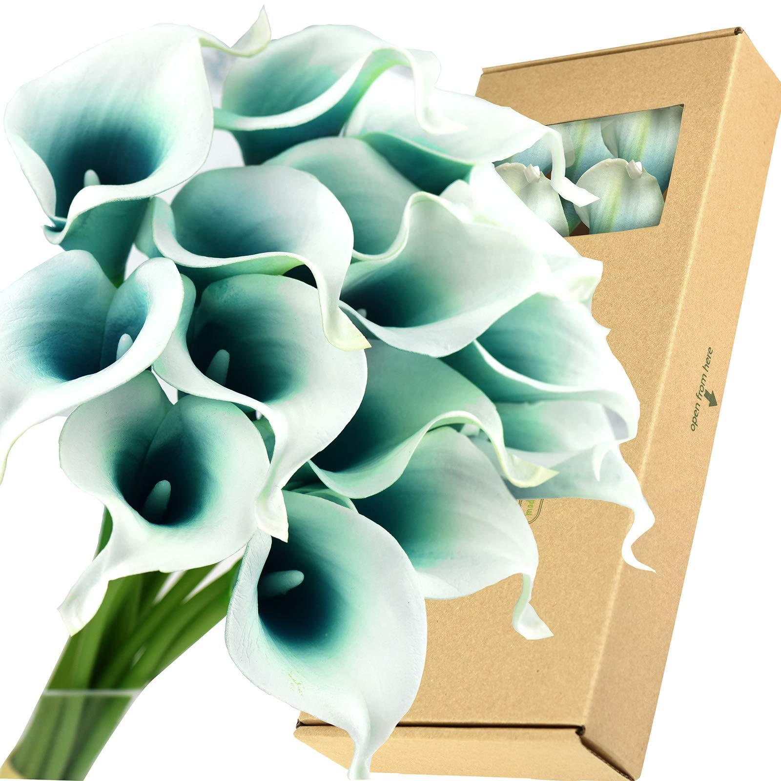 FiveSeasonStuff Real Touch Calla Lilies Artificial Flowers Wedding Bridal Bouquet Home Décor Party |Floral Arrangments | 15 Stems (Silk White & Carribean Green) by FiveSeasonStuff