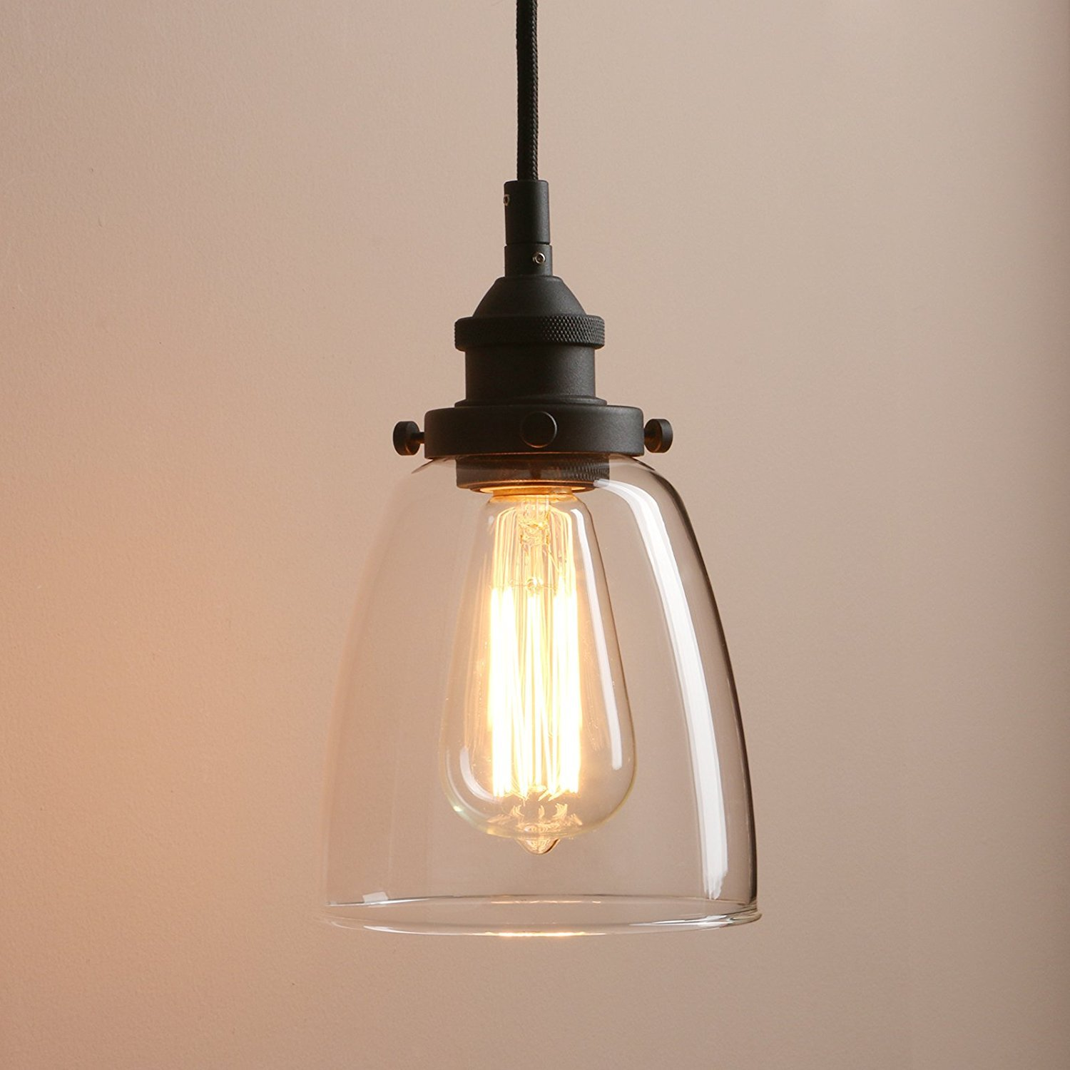 Pathson Retro Pendant Lighting, Industrial Small Hanging Light with Clear Glass and Textile Cord, Adjustable Kitchen Lamp for Hotels Hallway Shops Cafe Bar Flush Mount Ceiling Light Fixtures