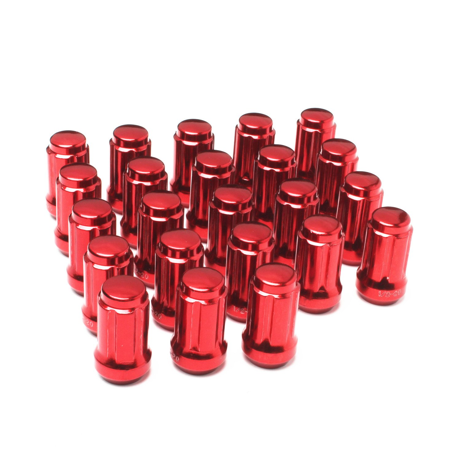APL-N021R Set of 23pcs 1//2 x 20 with 2 Keys 1.38 35mm Red 6 Spline Lug Nuts Closed End Long fit Jeep Dodge Ford Lincoln Mercury
