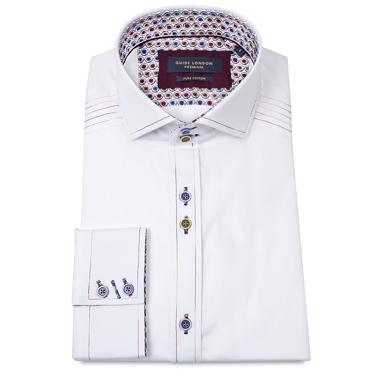 Guide London Contrast Stitch Luxury White Long Sleeve Mens Shirt