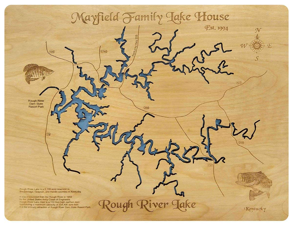 rough river lake map Amazon Com Rough River Lake Kentucky Standout Wood Map Wall rough river lake map
