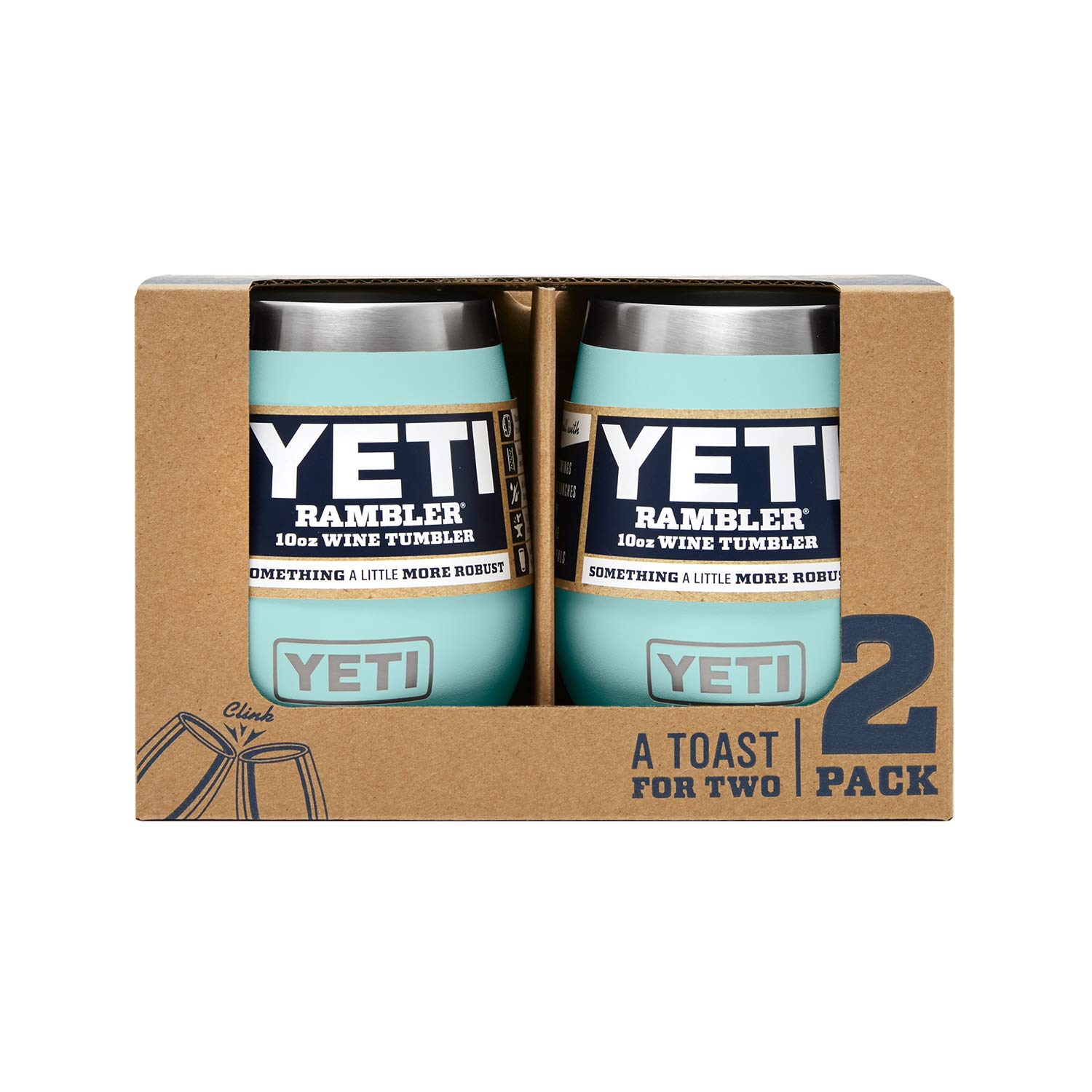 YETI Rambler 10 oz Stainless Steel Vacuum Insulated Wine Tumbler, 2 Pack, Seafoam