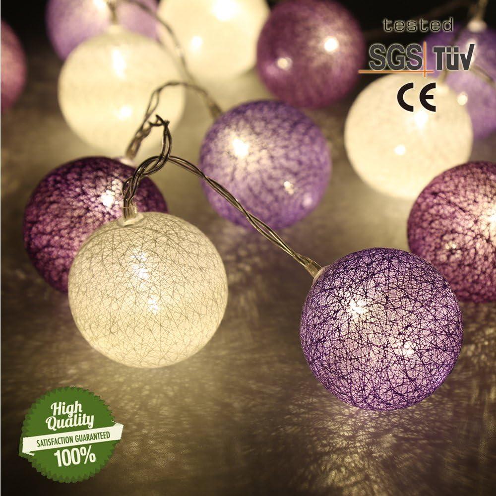 Cadena de Luces para Algodón Bolas, Morbuy Decoración LED Blanco ...