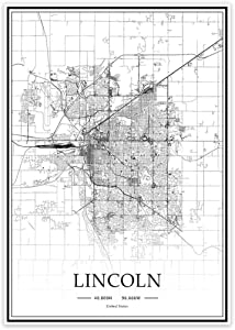 USA NE Lincoln Black&White Minimalist Art 20×28 City Map Painting Poster Home Decor Gift