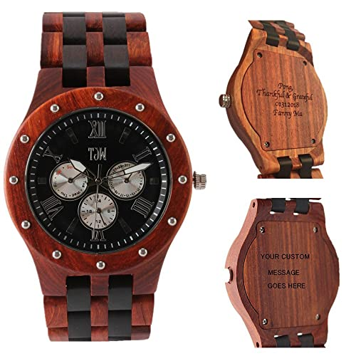 TJW Mens Natural wooden Watches Day Date Analog Quartz Handmade Casual Wrist Watch 8010 (black&red