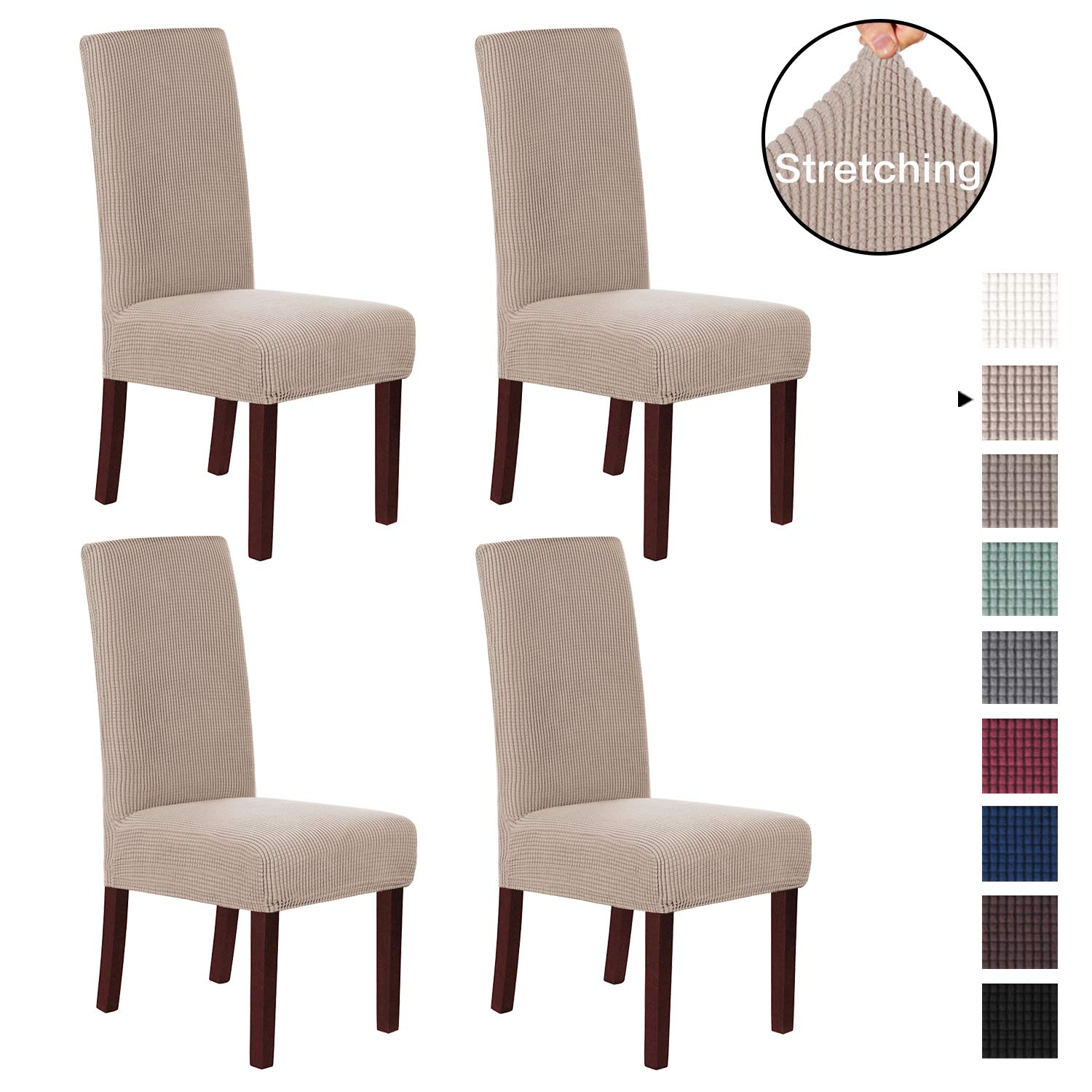 H.VERSAILTEX Dining Chair Slipcover High Stretch Jacquard Dining Room Chair Slipcovers Sets Washable Removable Chair Slipcover Dining Chair Protector Cover for Dining Room, Set of 4, Sand