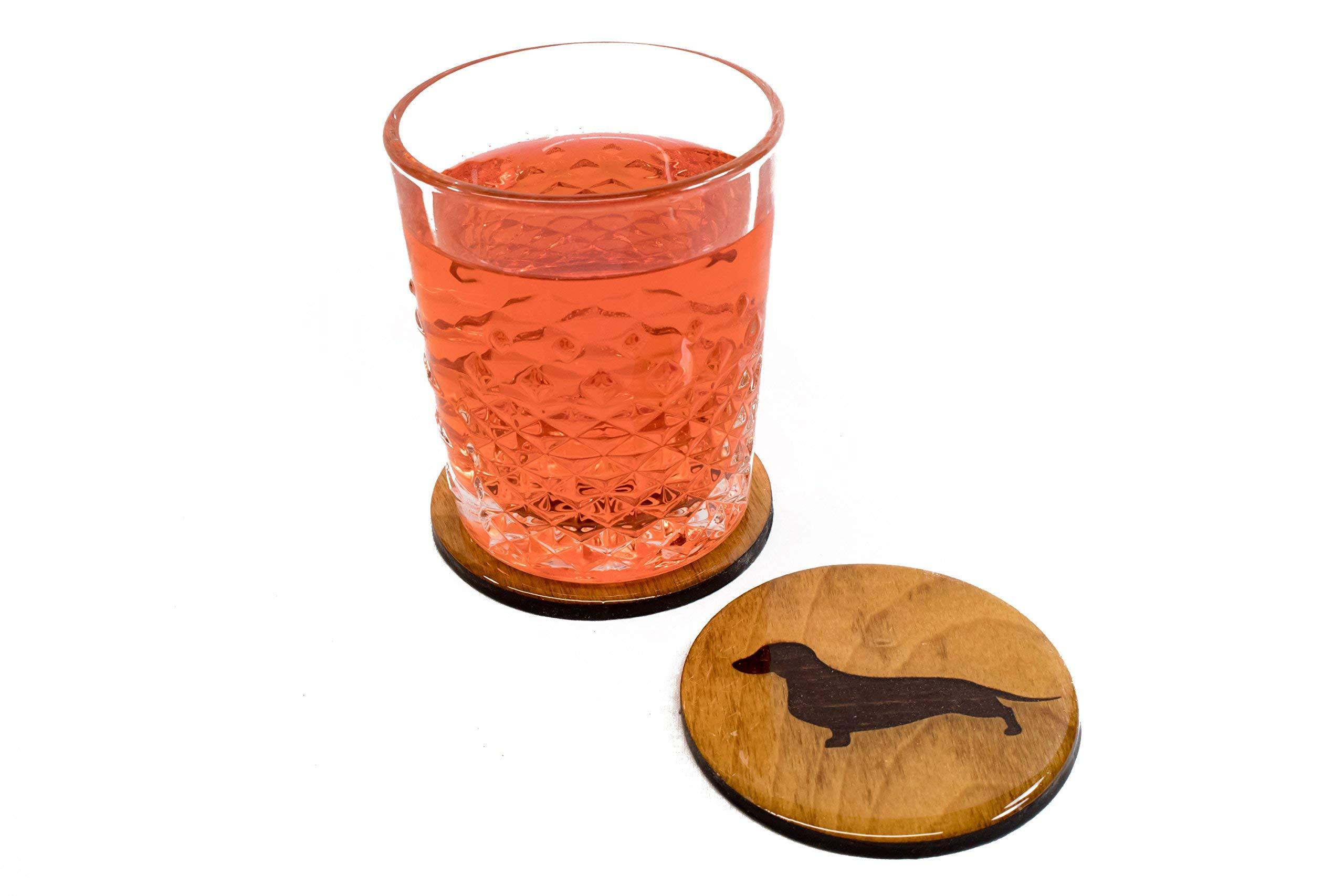 Premium Daschund Coasters - 4 Fun Handmade Engraved 3.5'' Round Wooden Natural Home Animal