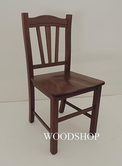 Sedia legno seduta massello colore noce scuro per cucina ...