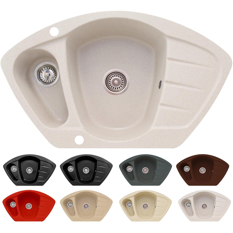 /évier encastrable dans /él/ément bas /à partir de 80cm /Évier dangle en granit Modena avec dispositif de trop-plein rev/êtement antibact/érien /évier de cuisine avec bac de 1,5/avec /égouttoir