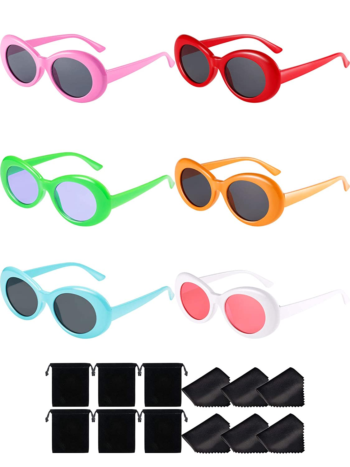 Blulu 6 Pieces Clout Oval Goggles Round Mod Thick Frame Retro Round Lens Sunglasses Women Men Girl Boy Teenagers with 6 Lens Cloth and 6 Bags