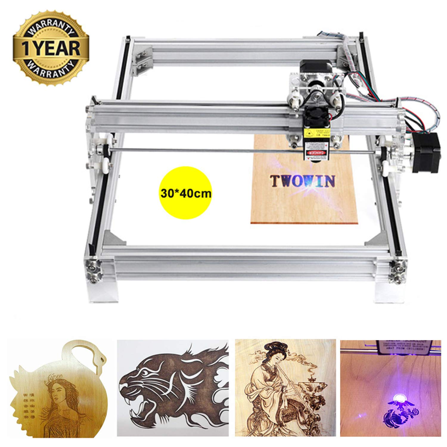 2500mw CNC Laser Engraving Machine Kits, 3040 Mini USB CNC Router Milling Carving Machine, Engraving Area 300mm x 400mm, Leather Wood PCB Plastic Carving Machine with Protective Glasses