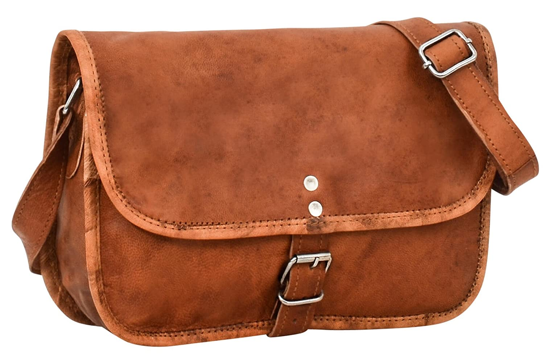 Gusti Leder Nature Andy 9, 7 iPad-Air Umhängetasche Lederhandtasche Handtasche Tabletasche 10, 1 Retro Vintage Abendtasche Ledertasche Stylisch Klein Herren Ziegenleder Damen Braun H1