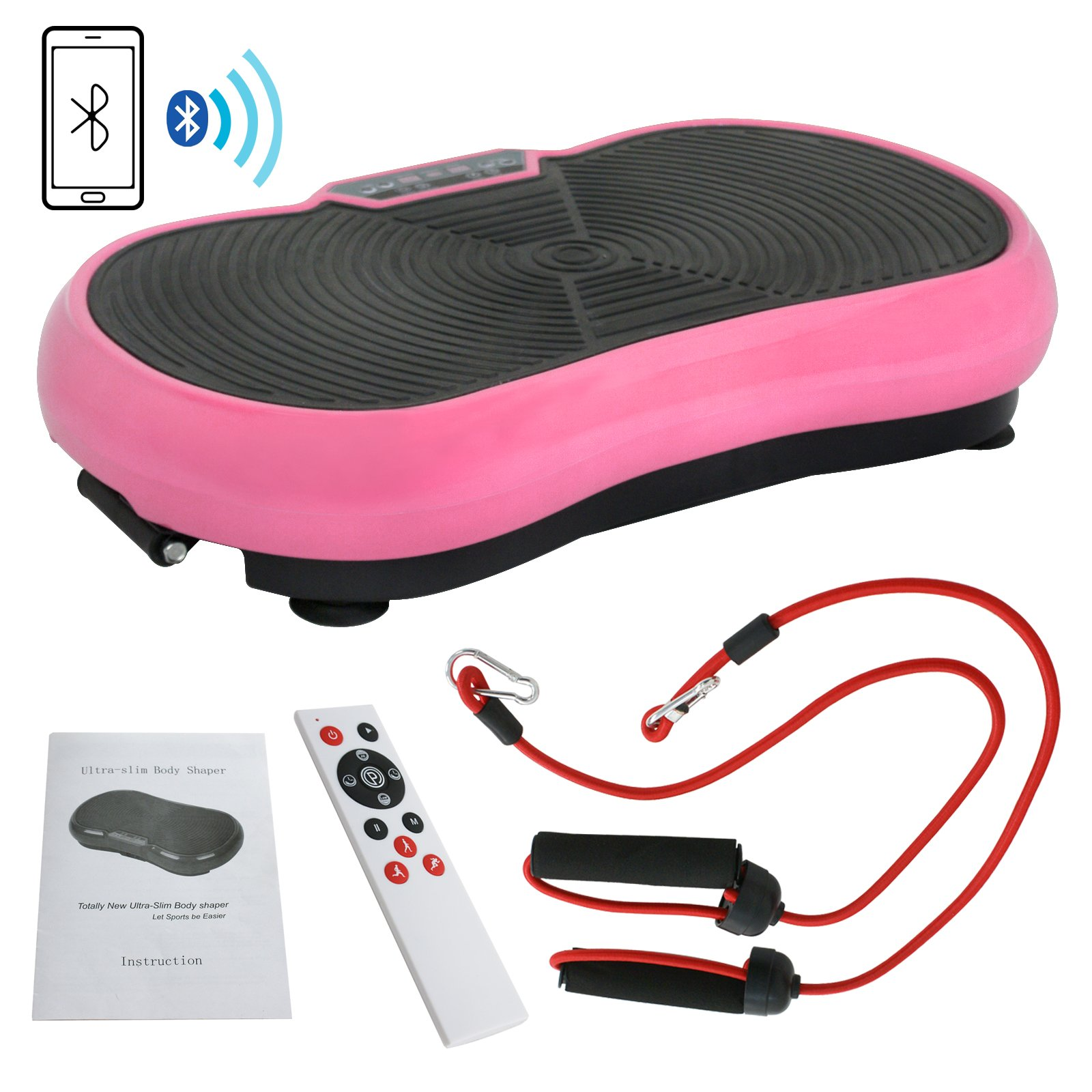 Fitness Vibration Platform Full Body Workout Machine Fit Vibration Plate W/Remote Control and Resistance Bands, Bluetooth Exercise Equipment (Pink) by Nova Microdermabrasion (Image #1)
