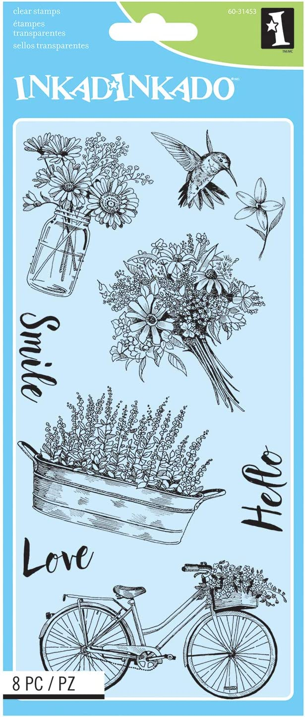 Inkadinkado Spring Time Flowers Unmounted Clear Rubber Stamp Set for Cards and Scrapbooking, 8pc