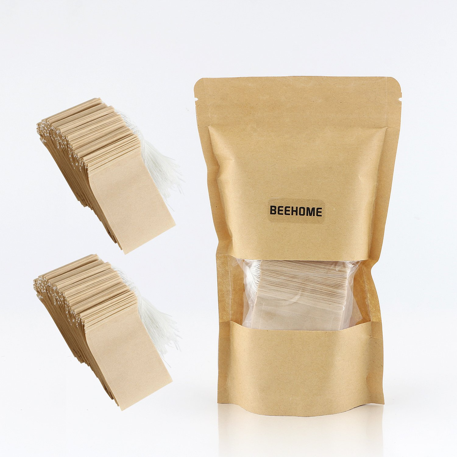 300PCS Tea Filter Bags, Disposable Paper Tea Bag with Drawstring Safe Strong Penetration Unbleached Paper for Loose Leaf Tea and Coffee by BEEHOME (Image #6)