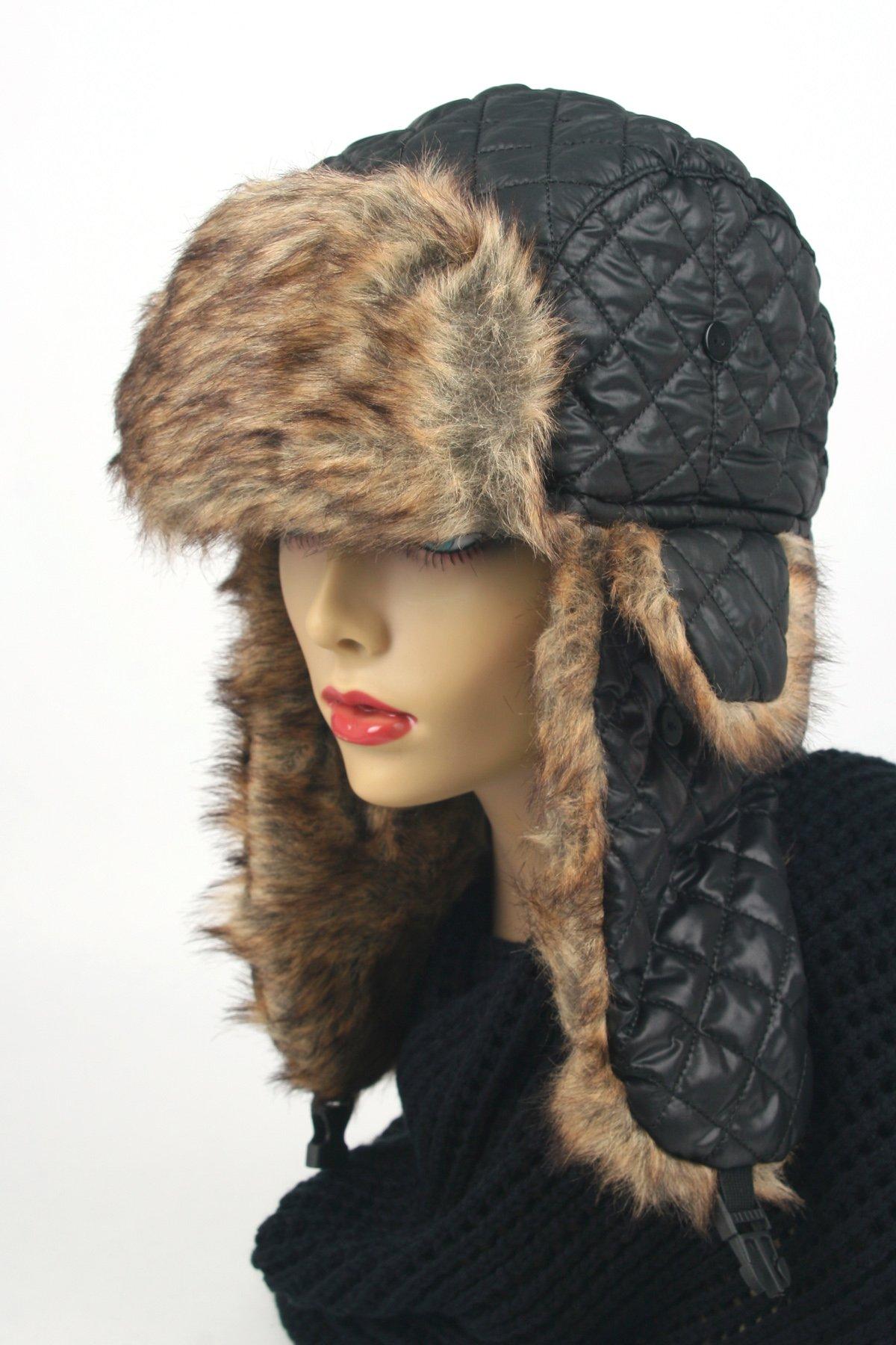 Women's Trapper Quilted Winter Ear Flap Hat 901HT (Black)