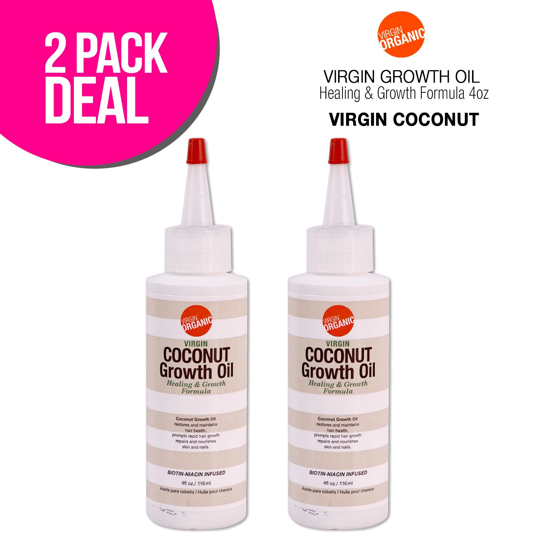 (2 PACKS) Virgin Organic Coconut Growth Oil Healing & Hair Growth Formula 4oz