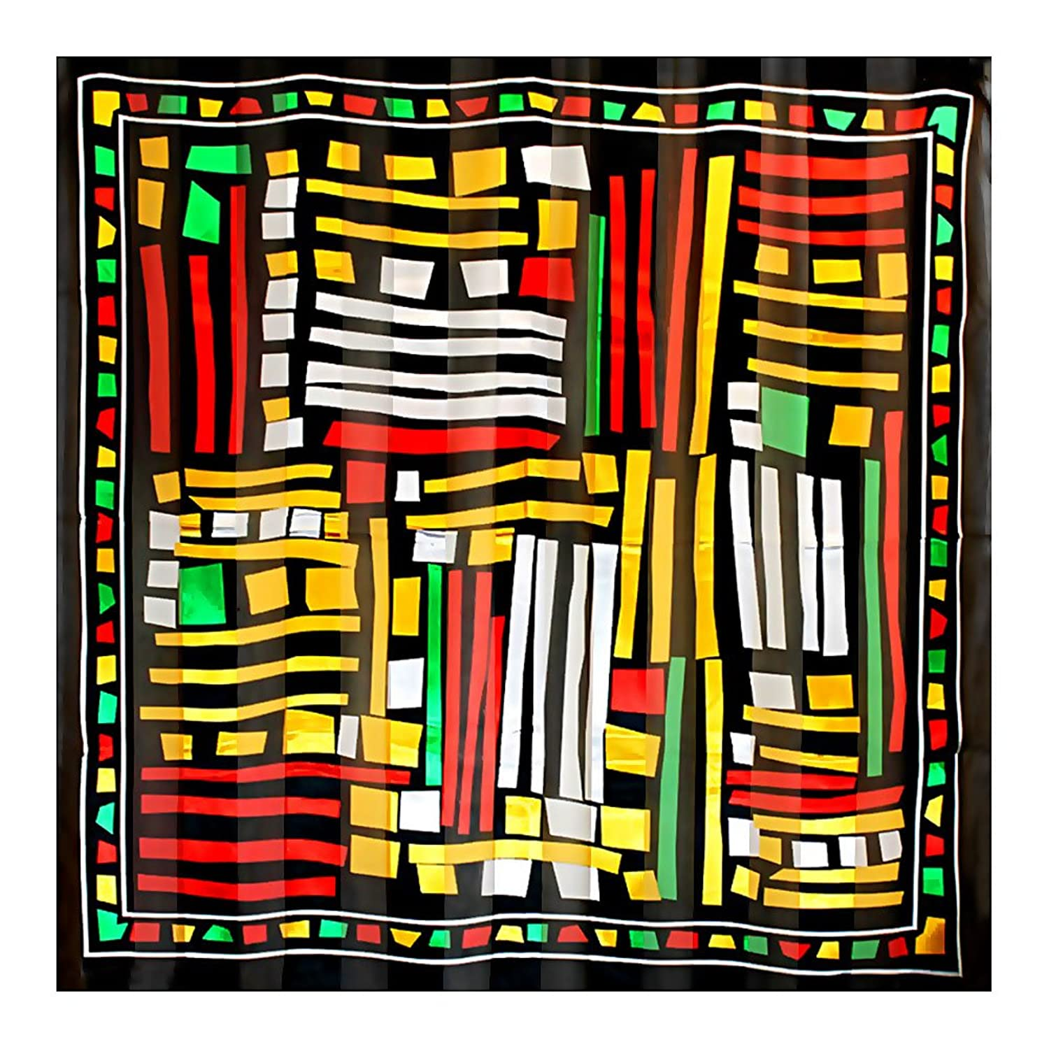 """African Abstract"" Silk-Feel Lightweight Square Scarf (40"" x 40"")"